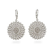 Sterling Silver Bali Filigree Fan Earrings
