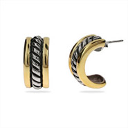 Designer Style Sterling Silver Cable Earrings with Gold