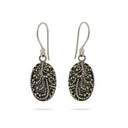 Sterling Silver Intricate Oval Drop Bali Earrings