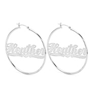 Medium Sterling Silver Classic Style Script Name Earrings