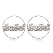 Large Sterling Silver Love Style Script Name Earrings