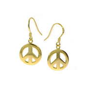 Gold Vermeil Sterling Silver Peace Sign Earrings