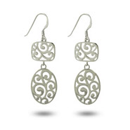 Sterling Silver Oval Filigree Drop earrings