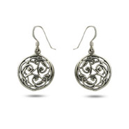 Sterling Silver Round Celtic Drop Earrings