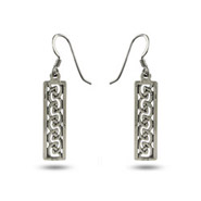 Sterling Silver Celtic Weave Bar Earrings