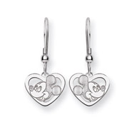 Mickey Mouse Sterling Silver Heart Dangle Earrings - Officially Licensed Disney Jewelry