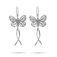 Sterling Silver Butterfly Dangle Earrings