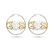 Silver and Gold Vermeil Custom Monogram Hoop Earrings