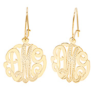 Gold Vermeil Diamond Cut Monogram Earrings