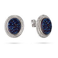 Oval Sterling Silver Cabled Blue Drusy Earrings
