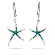 Sterling Silver Opal Inlay Starfish Earrings