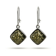 Green Baltic Amber Cushion Cut Leverback Dangle Earrings