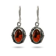 Victorian Style Oval Sterling Silver Baltic Amber Earrings
