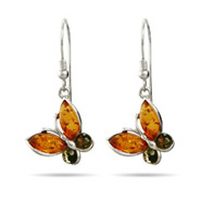 Genuine Baltic Amber Sterling Silver Butterfly Earrings