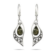 Genuine Green Baltic Amber Floral Marquise Silver Earrings