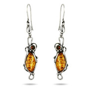 Exquisite Ornate Marquise Amber Scroll Earrings with Cherry Amber Accents