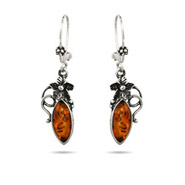 Marquise Cut Amber Earrings with Vintage Flower Design