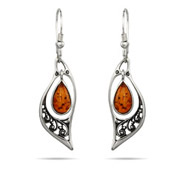 Genuine Baltic Amber Floral Marquise Silver Earrings