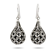 Sterling Silver Ornate Bali Teardrop Earrings