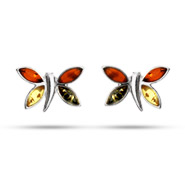 Sterling Silver Tricolor Baltic Amber Dragonfly Earrings