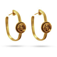 Gold Vermeil Hoop Golden Drusy Earrings