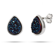 Sterling Silver Blue Drusy Quartz Pearcut Earrings