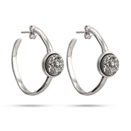 Sterling Silver Shimmering Dusk Drusy Hoop Earrings