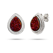 Sterling Silver Cabled Raspberry Drusy Pearcut Earrings