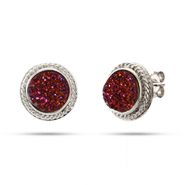 Sterling Silver Cabled Raspberry Drusy Earrings
