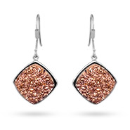 Sterling Silver Cushion Cut Rose Drusy Dangle Earrings