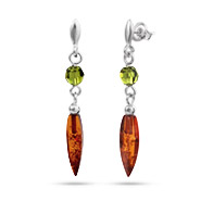 Honey Amber Drop Earrings with Green Swarovski Crystals