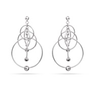 Sterling Silver Cascading Dangle Circle Earrings