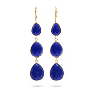Gold Vermeil Genuine Blue Quartz Peardrop Dangle Earrings