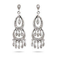 Teri Hatcher Inspired Sterling Silver Diamond CZ Chandelier Earrings