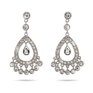 Sela Ward Inspired Diamond CZ Chandelier Earrings with Bezel Set CZs