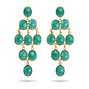 Gold Vermeil Emerald Green Quartz Chandelier Earrings