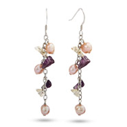 Natural Stones and Freshwater Pearl Sterling Silver Earrings