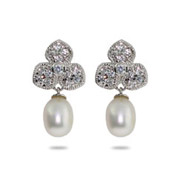 Tiffany Style Sterling Silver Petals and Freshwater Pearl Drop Earrings