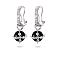 Designer Style Onyx CZ Cross Earrings