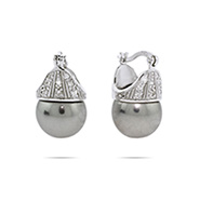 Sterling Silver Crowned Gray Pearl Earrings