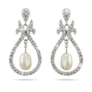 Beautiful Vintage Design Dangling Pearl CZ Earrings