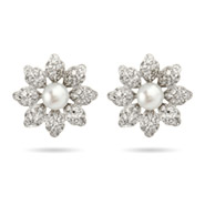 Sterling Silver Pearl and CZ Daisy Stud Earrings