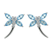 Dragonfly Earrings in Blue Topaz and Sterling Silver