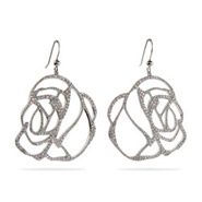 Julia Rose Sparkling Pave CZ Sterling Silver Rose Earrings