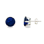 Sterling Silver 8mm Sapphire Cubic Zirconia Stud Earrings