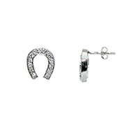 Tiffany Inspired Cubic Zirconia Lucky Horseshoe Earrings