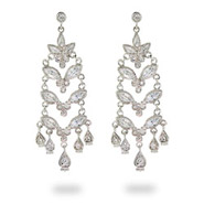 Penelope's CZ Flower Drop Sterling Silver Chandeliers