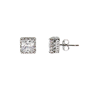 Angelina's Crown Set Princess Cut CZ Studs