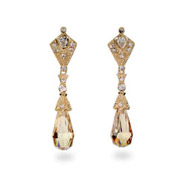 Gold Vermeil Vintage Champagne Briollette Teardrop Dangle Earrings