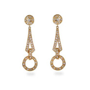 Vintage Cubic Zirconia Dangle Drop Gold Vermeil Earrings